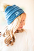 beanie, casual, winter, monogram, solid, blue, pompom, puffball
