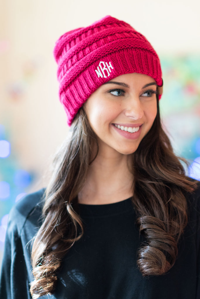 beanie, pink, neon, solid, winter, casual, monogram