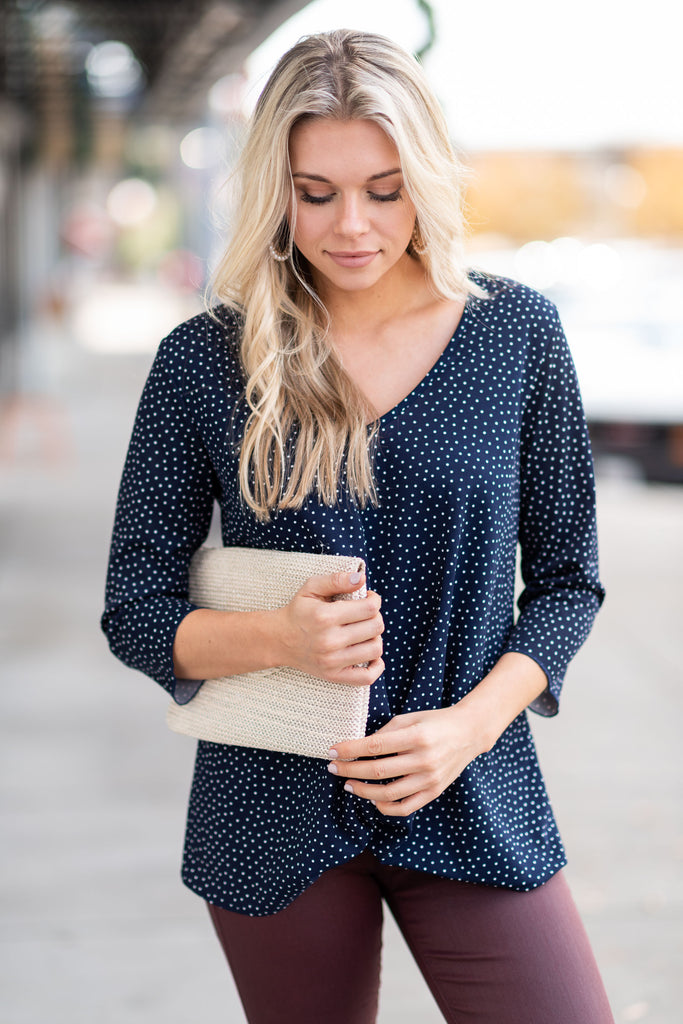 top, winter, casual, long sleeve, blue, polka dot, v neck