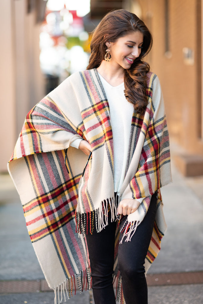 By The Fire Light Poncho, Taupe