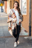 poncho, winter, long sleeve, fringe, plaid, brown, work