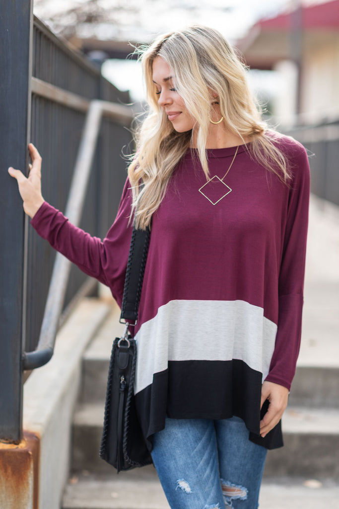 top, long sleeve, color block, striped, winter, red, white, black, casual