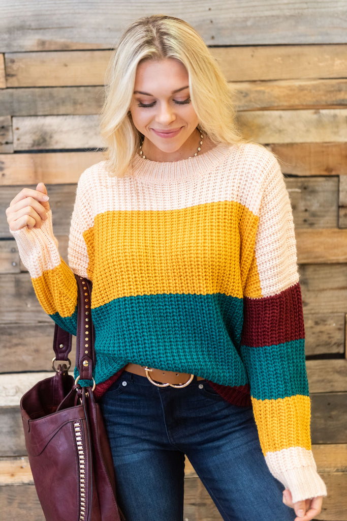 sweater, green, yellow, long sleeve, color block, striped, multicolored, winter