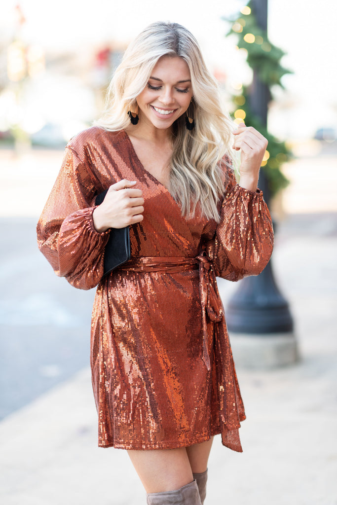daa3cd9b New Years Eve Sequin Dress, Copper – The Mint Julep Boutique