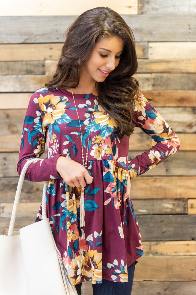 top, peplum, floral, flowers, long sleeve, flowy, winter, dark red