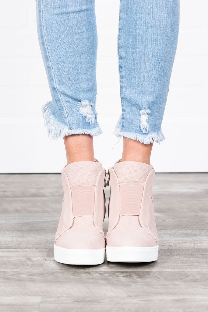 Sassy Blush Pink Wedge Sneakers – The Mint Julep Boutique