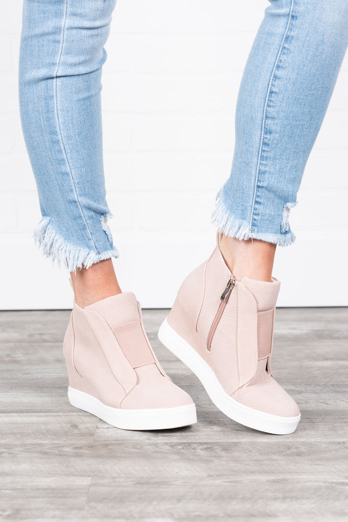 Sassy Blush Pink Wedge Sneakers – The