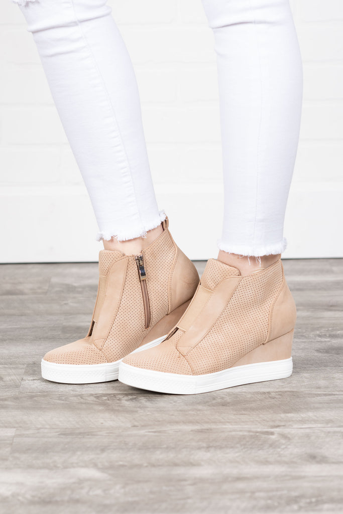 oatmeal, brown, wedge sneakers, wedge, sneakers, edgy, chic, solid coloring, side zip closure, fall, winter