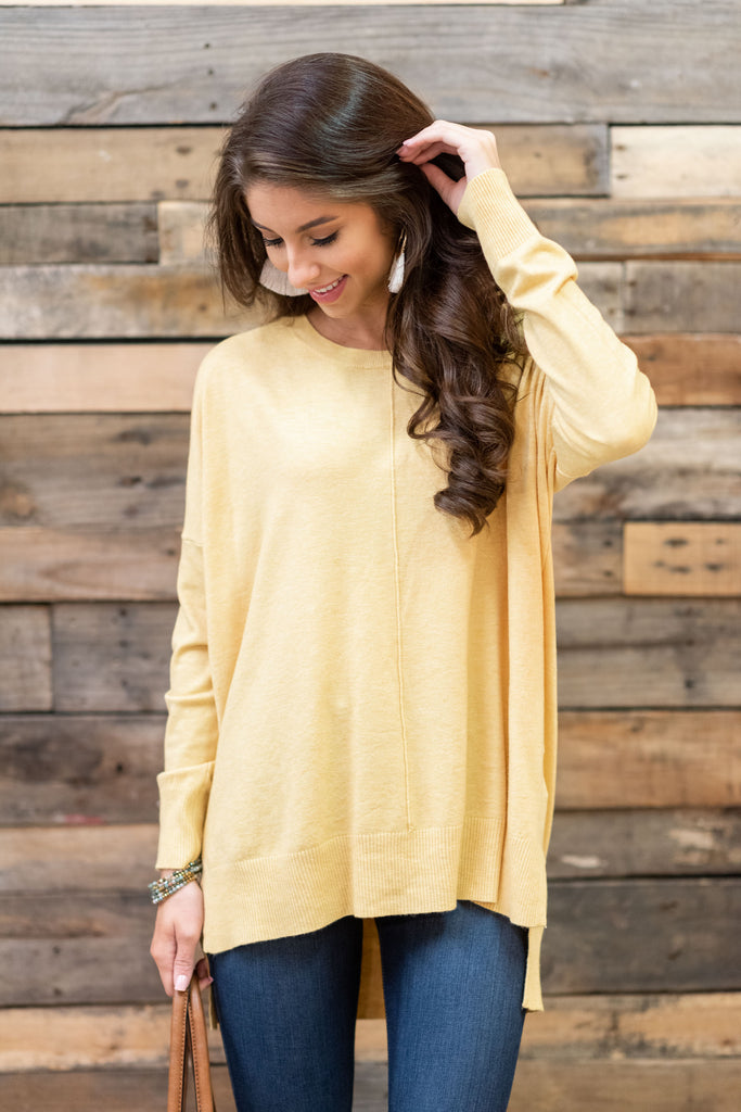 If You Want It Heather Yellow Sweater