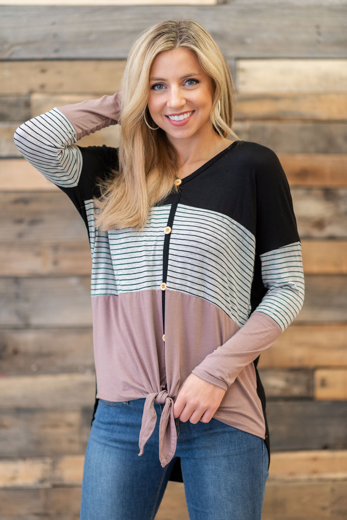 stripes, top, stripe top, color block, comfy, long sleeves, tied waist