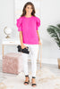 top, solid, solid top, hot pink, hot pink top, dramatic sleeves, vibrant, short sleeve, short sleeve top, casual, casual top, trendy, everyday, work, shopping, easy to style