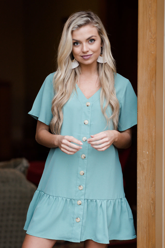 Don't Look Away Sage Green Button Front Dress