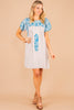 dress, blue, round neckline short sleeves, floral embroidery, vibrant, spring dress