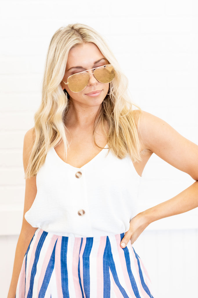 Just Take A Look Off White Button Tank
