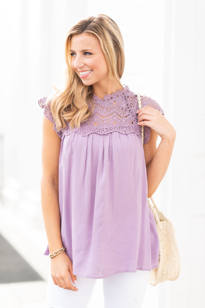Known To Be Beautiful Lavender Purple Crochet Top