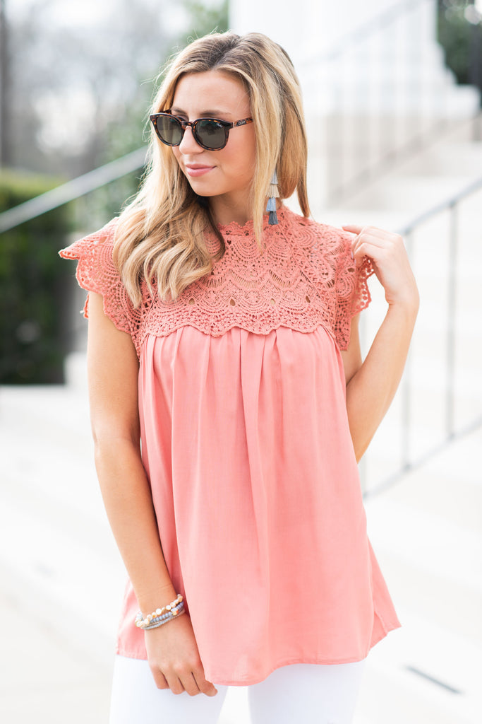 Known To Be Beautiful Salmon Pink Crochet Top