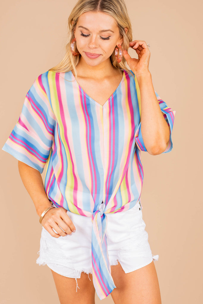 top, short sleeve, short sleeve top, stripes, striped top, multi colored, multi colored top, summer top, summer styles, bright, fun, tie knotted, tie knotted top, colorful, colorful top