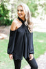 fall, top, fun, crisscrossed, unique neckline, shoulder detailing, lovely, flowy, cold shoulder details, generous fit, black, black top