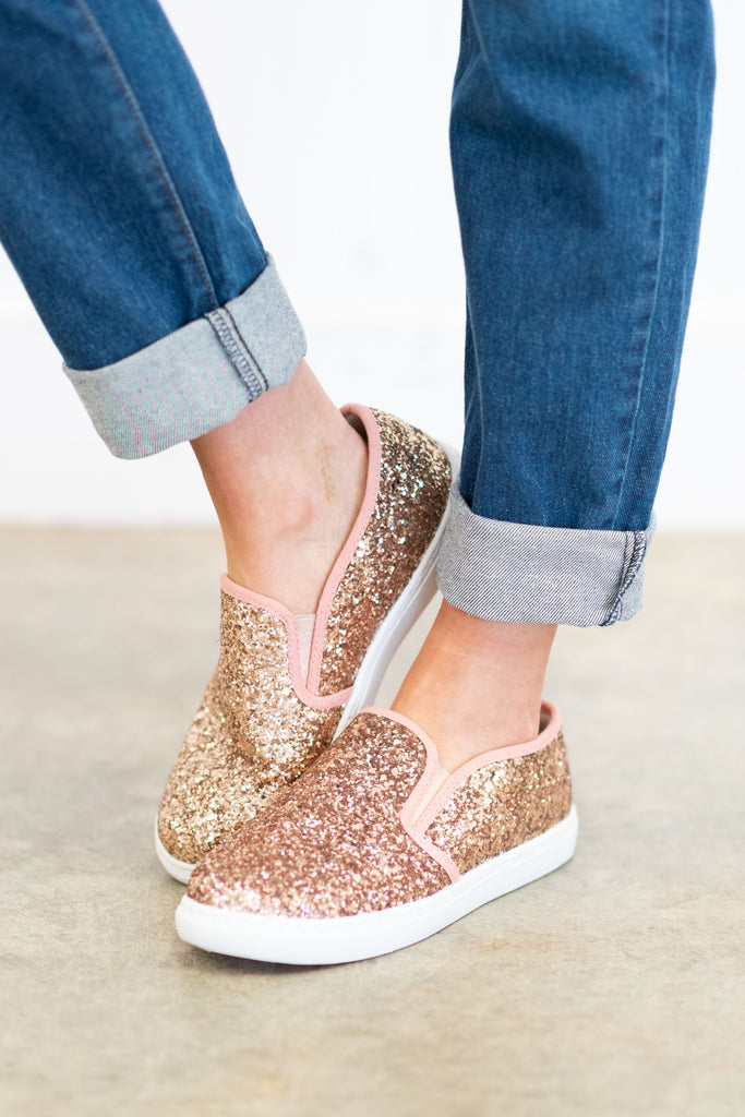Magical Beginnings Champagne Pink Glitter Sneakers