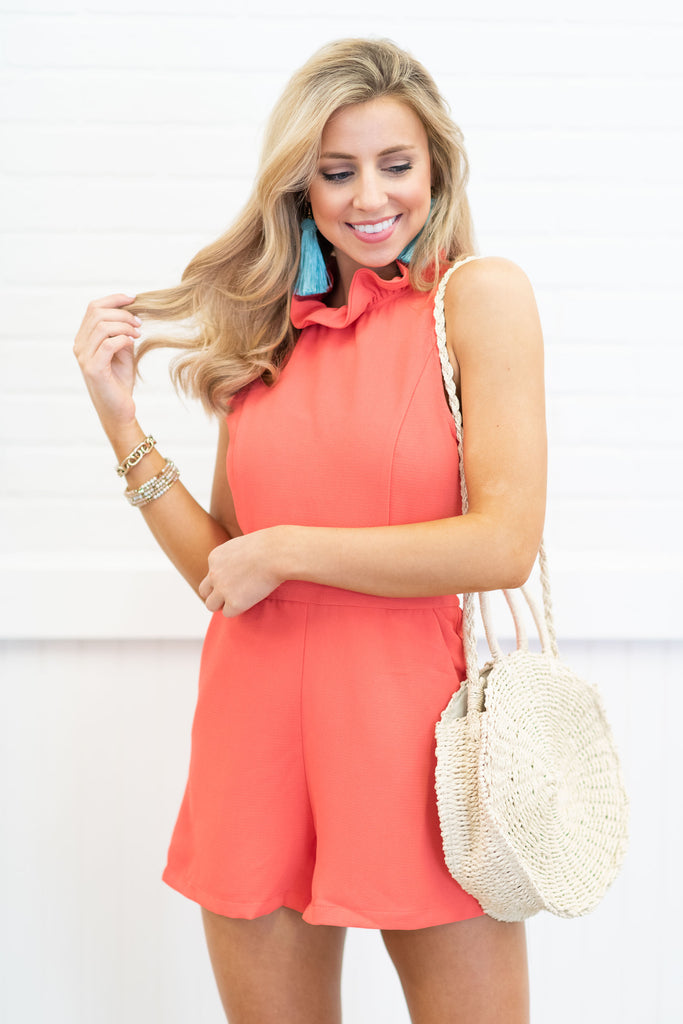 Front And Center Romper, Poppy
