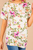 comfy top, top, floral print, short sleeves, white, round neckline