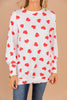 ivory white heart print top, heart, valentine's day, top, white