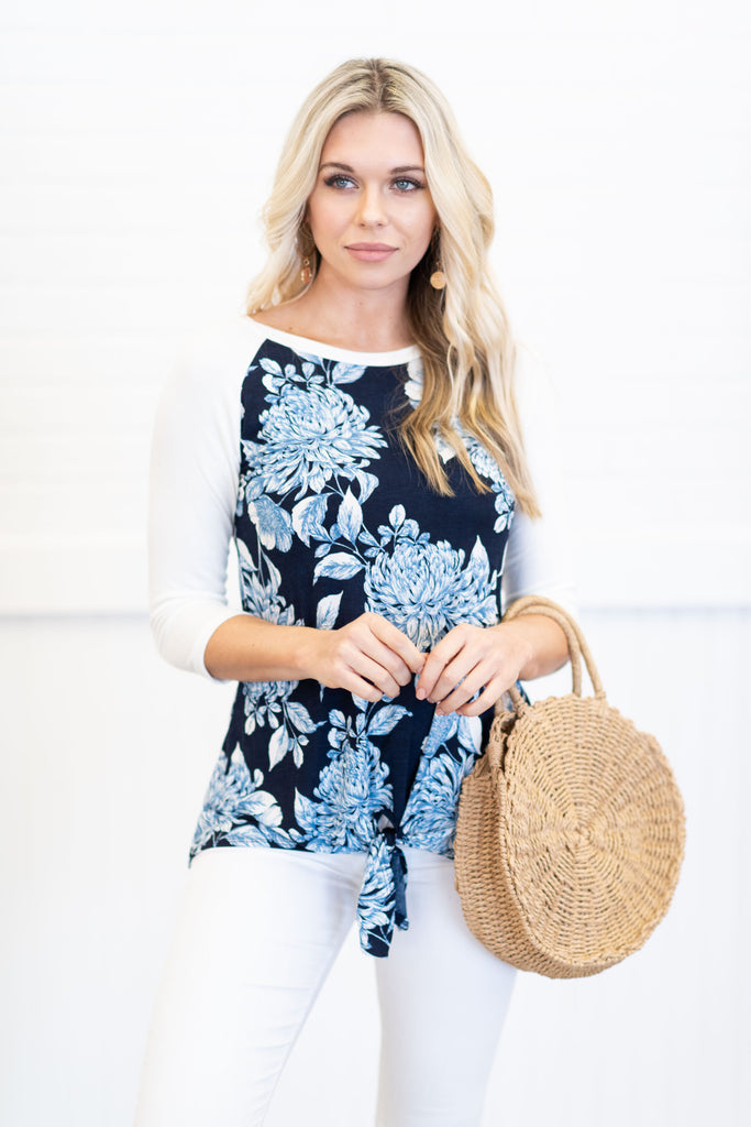 Making You Happy Top, Navy-Ivory
