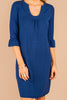 loose shape, dress, navy blue, flutter sleeves, versatile