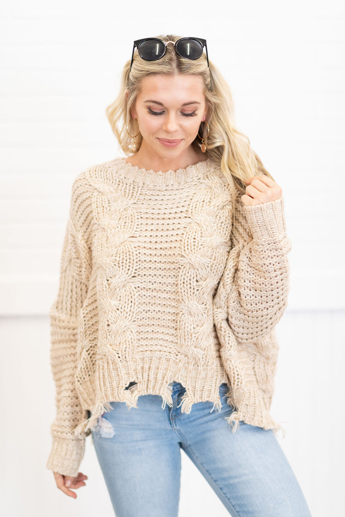 Happy Thoughts Sweater, Taupe