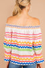 printed top, off the shoulder neckline, long sleeves, flutter trim, colorful, white, off the shoulder top