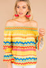 printed top, flutter trims, colorful, off the shoulder neckline, long sleeves