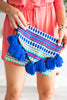 Mud Pie: Woven Tassel Clutch, Blue