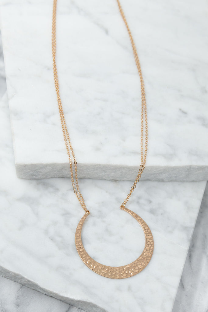 Crescent Moon Necklace, Gold