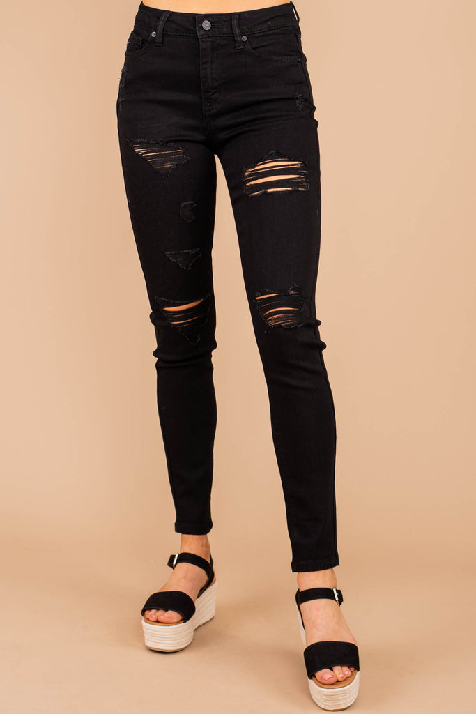 distressed skinny jeans, black jeans, jeans, distressed jeans, holes, rips, fall, winter, spring, summer, pants, bottoms
