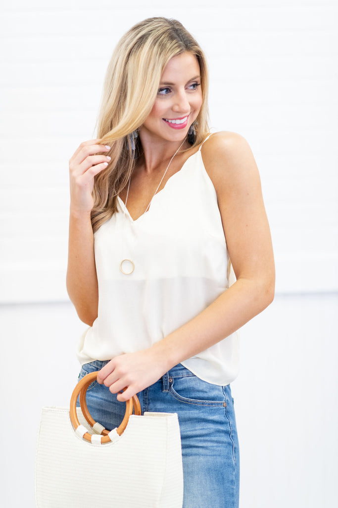 Simple Beauty Cream White Scalloped Tank
