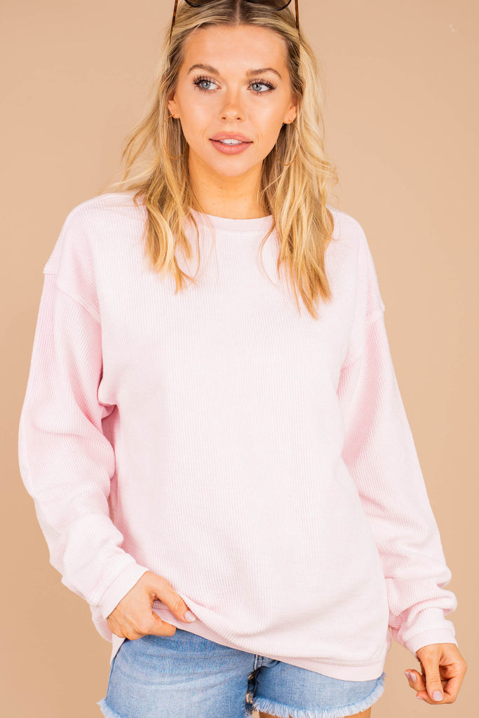 soft texture, ribbed cotton fabric, long sleeves, crew neckline, pink, sweatshirt, soft, easy fit