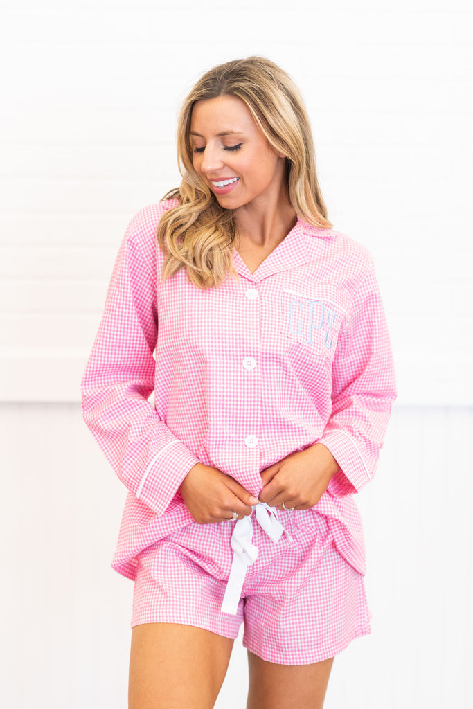 Catching Some Zzzs Pajama Shorts Set, Pink