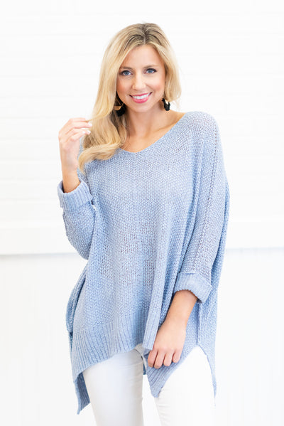 50af03bd9e95 Don't Waste A Moment Sweater, Ice Blue