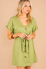 green dress, dress, v-neckline, short sleeves, tied waist, linen blend fabric, button down dress