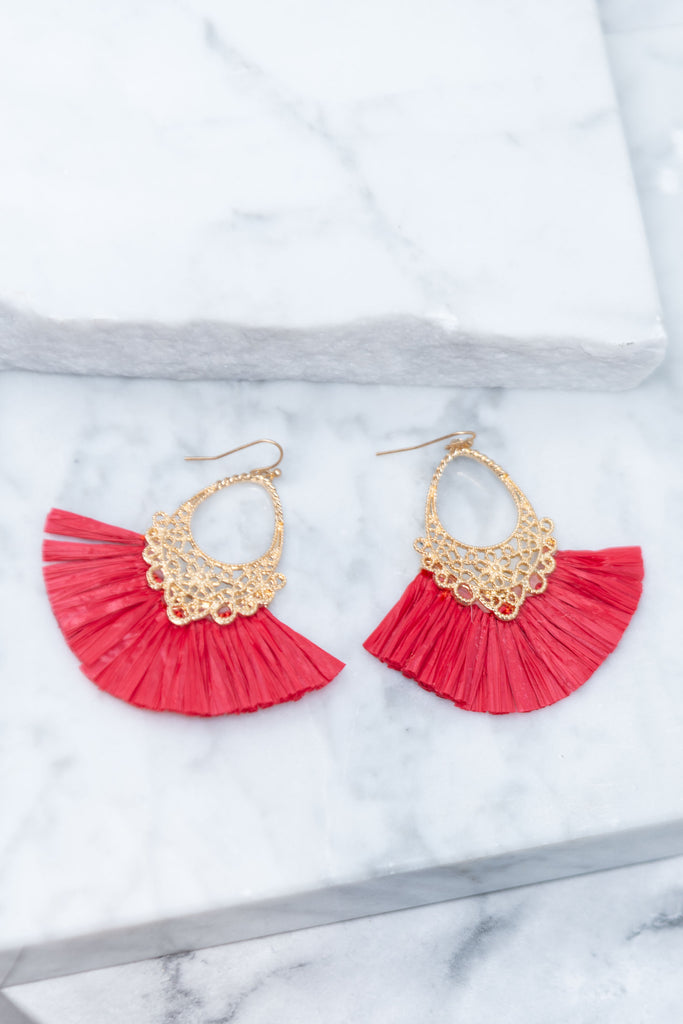 All You Need Fuchsia Pink Tassel Earrings