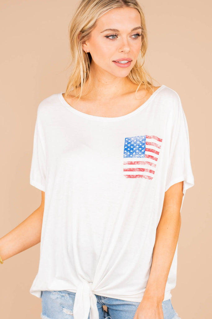 off white top, top, white, short sleeves, tie front hem, rounded neckline, soft stretch, tee