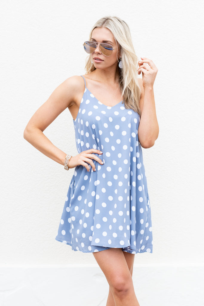 Polka Dot Party Dress, Light Denim-Ivory