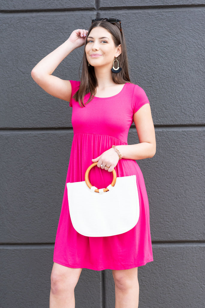 Couldn't Love You More Fuschia Pink Empire Waist Dress