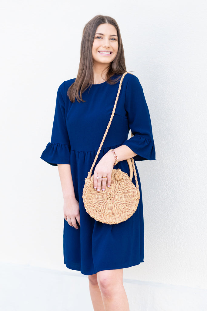 Dreaming Of The Day Navy Blue Peplum Sleeve Dress