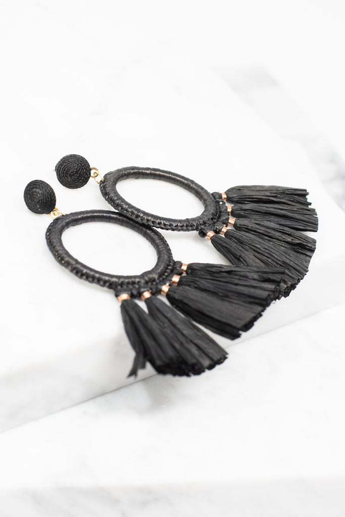 black earrings, black, tassel, black beaded detail