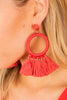 red, red earrings, earrings, round stud, medium sized hoop, beaded detail, tassel trims, statement, bold, coral red