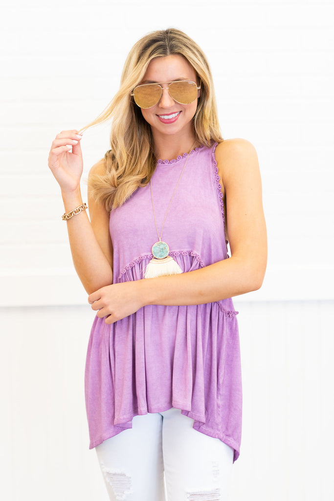 top, tank, sleeveless top, purple, boho, flower,  flowy