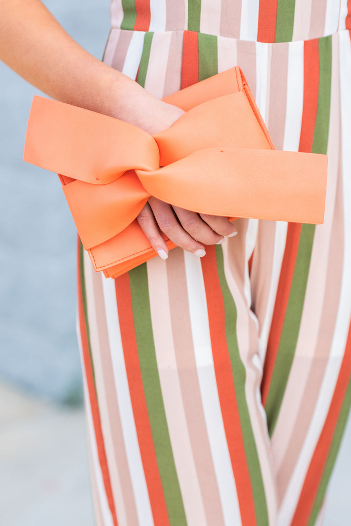 Going My Way Peach Orange Tie Front Clutch