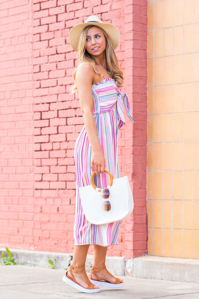 Going Your Own Way Tie Midi Dress, Pink-Multi