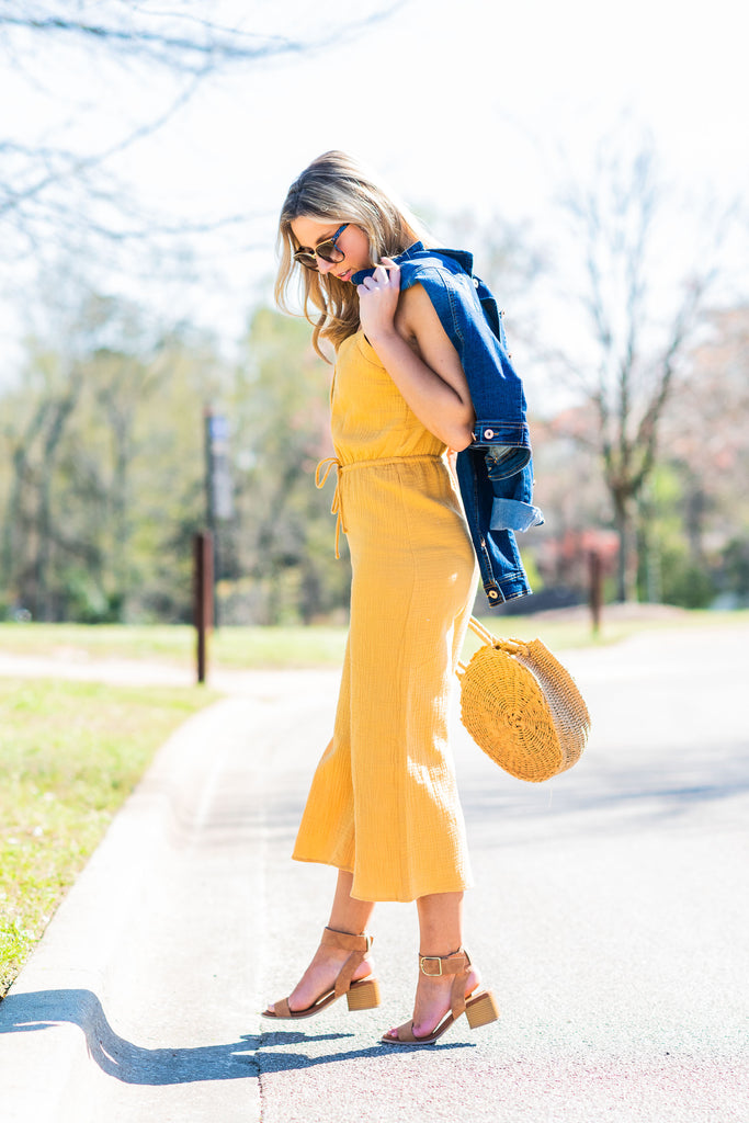 If I Were You Honey Yellow Wide Leg Jumpsuit